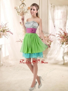 Unique Sweetheart Short Prom Dresses with Sequins and Belt