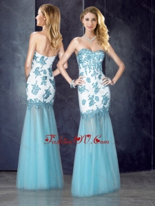 2016 Beautiful Column Applique Aqua Blue Bridesmaid Dress in Tulle