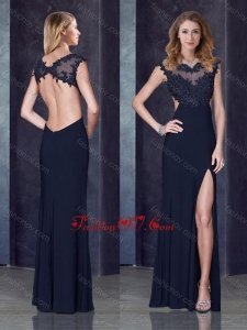 2016 Column Backless Applique Black Bridesmaid Dress with Beading and High Slit