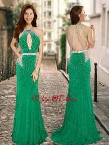 2016 Column High Neck Backless Green Bridesmaid Dress with Beading