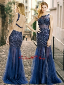2016 Column Square Beaded Backless Navy Blue Bridesmaid Dress in Tulle