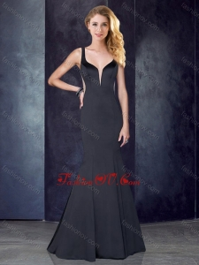 2016 Mermaid Straps Satin Black Bridesmaid Dress with See Through Back