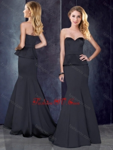 2016 Mermaid Sweetheart Satin Bridesmaid Dress in Black with Brush Train