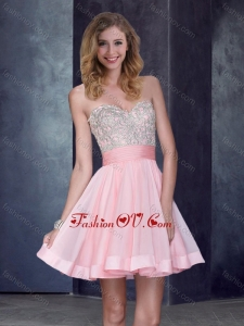 2016 New Style Short Sweetheart Baby Pink Bridesmaid Dress with Beading
