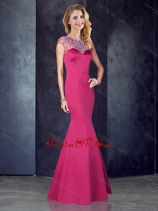 2016 See Through Back Satin Beaded Bridesmaid Dress in Hot Pink