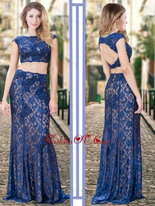 2016 Two Piece Bateau Backless Royal Blue Bridesmaid Dress in Lace