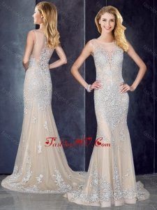 2016 Bateau Applique Champagne Bridesmaid Dress with Brush Train