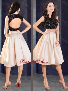 2016 Elegant Two Piece Open Back Bridesmaid Dress in Champagne and Black