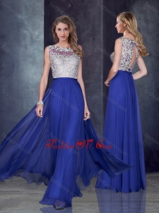 2016 Empire Bateau Royal Blue Bridesmaid Dress with Appliques