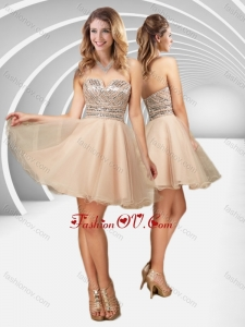 2016 New Arrivals V Neck Champagne A Line Bridesmaid Dress with Sequins