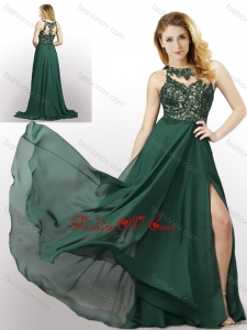 2016 New Style Empire Chiffon Laced and High Slit Bridesmaid Dress in Dark Green