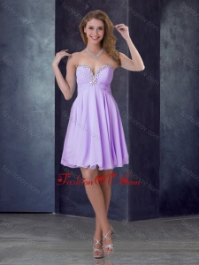 2016 Popular Empire Lilac Short Bridesmaid Dress with Beading