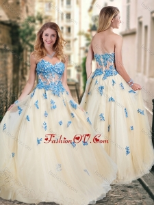 2016 Pretty Visible Boning Tulle Champagne Bridesmaid Dress with Blue Appliques