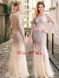 2016 Column High Neck Beaded Champagne Dama Dress with Long Sleeves