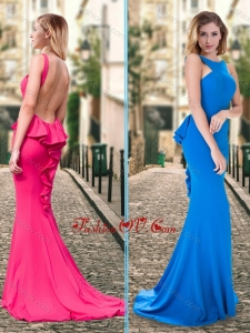 2016 Column Ruffled Blue Backless Dama Dress with Brush Train