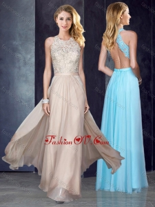 2016 Elegant Scoop Criss Cross Applique Dama Dress in Champagne