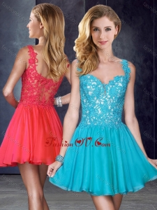 2016 New Style Straps Short Teal Dama Dress with Appliques