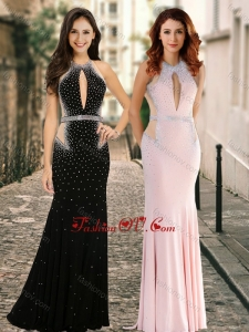 2016 Simple High Neck Beaded Backless Dama Dress with Brush Train