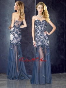 2016 Column Navy Blue Dama Dress with Appliques and Beading