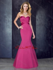 2016 Mermaid Sweetheart Backless Hot Pink Dama Dress in Satin