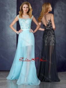 2016 Short Inside Long Outside Bateau Light Blue Dama Dress with Appliques