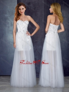 2016 Short Inside Long Outside Tulle White Dama Dress with Appliques and Beading