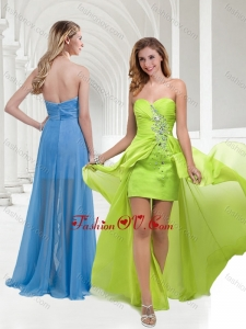 2016 Classical Chiffon Beaded Yellow Green Long Prom Dress with Empire