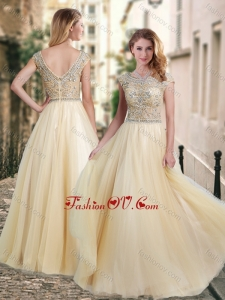 2016 Lovely A Line Beaded Bodice Scoop Dama Dress in Champagne