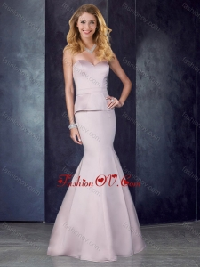 2016 Mermaid Sweetheart Satin Lavender Dama Dress with Brush Train