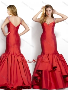2016 Modest Mermaid Beaded Decorated Cap Sleeves Wine Red Dama Dress in Taffeta