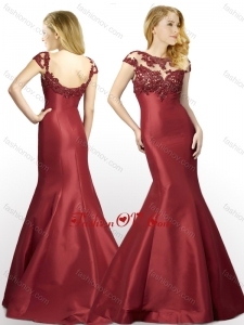 2016 New Arrivals Applique Mermaid Brush Train Satin Dama Dress in Wine Red