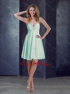 2016 New Empire Chiffon Beaded and Ruched Mint Short Dama Dress