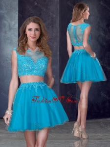 2016 Two Piece Short Bateau Teal Dama Dress with Appliques