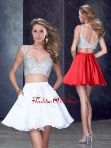 2016 Two Piece Straps White Short Dama Dress with Beading