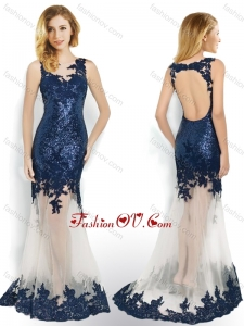 2016 Beautiful Sequined and Applique Navy Blue Prom Dress with Brush Train