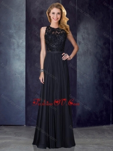 2016 Classical Column Scoop Criss Cross Applique Black Prom Dress
