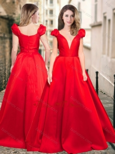 2016 Exquisite Deep V Neckline Cap Sleeves Prom Dress in Red