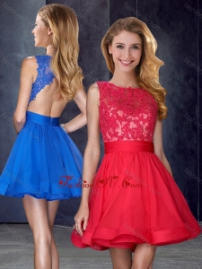 2016 Hot Sale Scoop Backless Red Prom Dress with Appliques and Belt