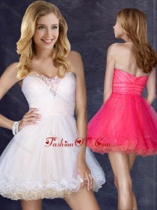 2016 Hot Sale Short Sweetheart Prom Dress with Beading in Organza