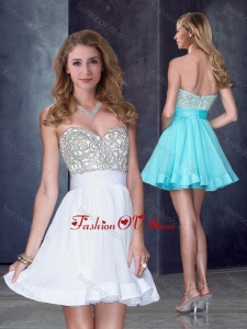 2016 Hot Sale Short Sweetheart White Prom Dress with Beading in Organza