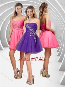 2016 Latest A Line Applique with Beading Short Prom Dress in Tulle
