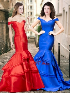 2016 Latest Off the Shoulder Mermaid Prom Dress with Ruching