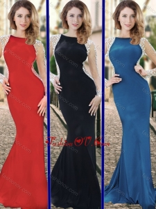 2016 Luxurious See Through Mermaid Prom Dress with Beaded Long Sleeves