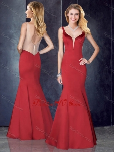2016 Mermaid Straps Satin Red Prom Dress with See Through Back