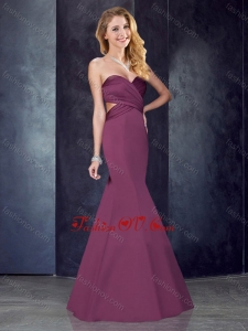 2016 Mermaid Sweetheart Backless Satin Prom Dress in Burgundy