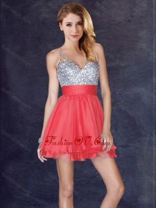 2016 Modest Backless V Neck Sequined Short Prom Dress in Coral Red