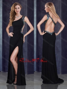 2016 One Shoulder Backless Black Prom Dress with Beading and High Slit