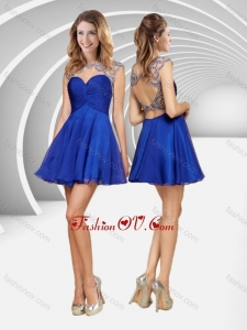 2016 Popular See Through Beaded and Ruched Blue Short Prom Dress with Open Back