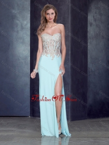 2016 Romantic Sweetheart Light Blue Prom Dress with High Slit and Appliques