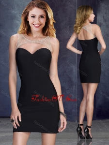 2016 Sexy Beaded Top Elastic Woven Satin Prom Dress in Black